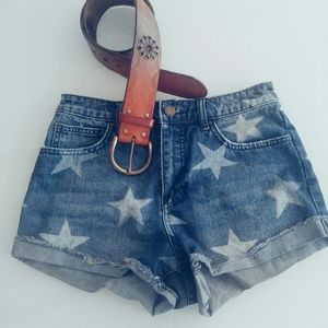Denim Shorts Star Pattern High Rise